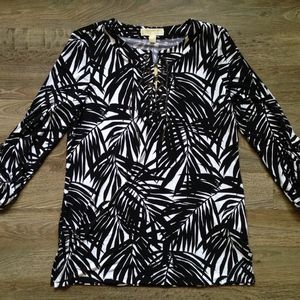 $120 Michael Kors Palm Print Lace-Up Tunic